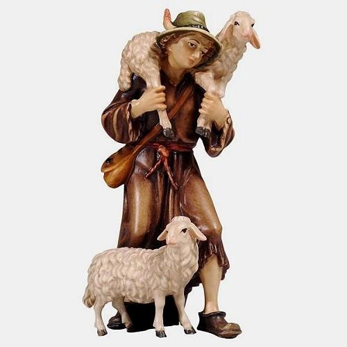 Mahlknecht 046 Krippenfigur Hirte mit 2 Schafe