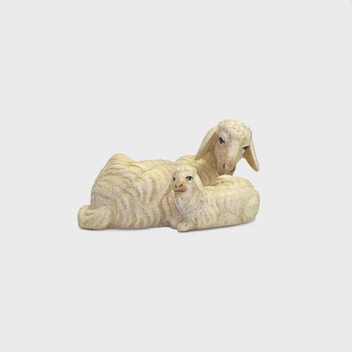 Nazareth Krippenfigur Schaf liegend mit Lamm
