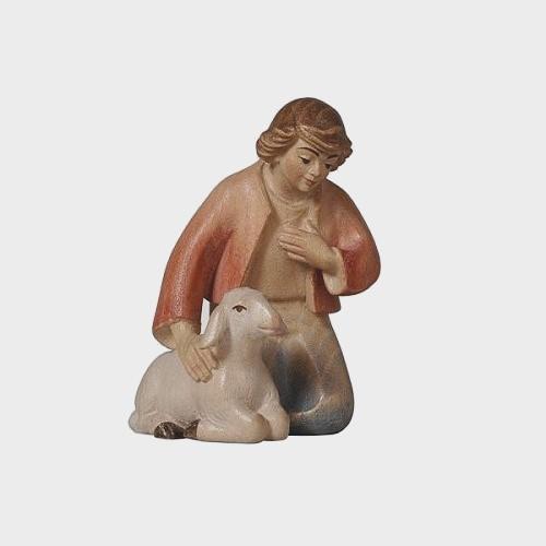 PEMA 018 Krippenfigur Hirte kniend mit Schaf