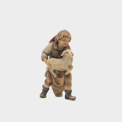 Mahlknecht 026 Krippenfigur Bub mit Lamm im Arm