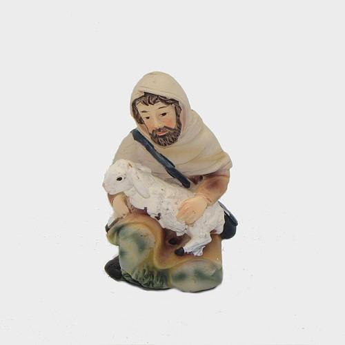 Krippenfigur Schäfer mit Schaf kniend